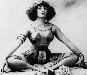 Colette in Rêve d'Égypte at the Moulin Rouge, 1907, in which she kissed her lesbian lover, the writer of this Orientalist fantasy, the Marquise de Belbeuf.