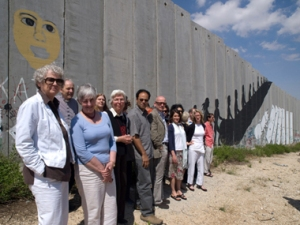 Jamal Mahjoub and other  Palestine Literary Festival writers at Bethlehem's 'Apartheid Wall', 2008
