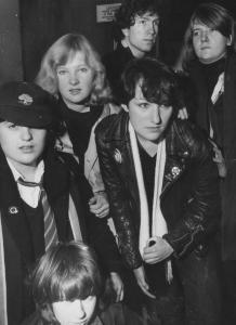 (Clockwise) Tom, Jo, Karen, Scruf, Scruff & Kate - in a Glasgow launderette, 1979.