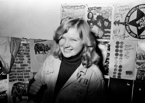 Kate at a RAR stall on RAR's Militant Entertainment Tour, 1979 (c) Syd Shelton